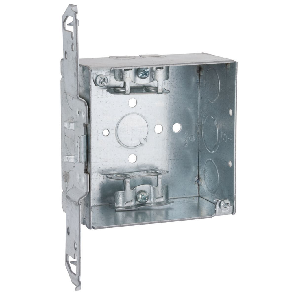 RACO 241 4 x 4 x 2-1/8 Inch 30.3 In Pre-Galvanized Steel TS Bracket Flush/Ceiling/Wall Mount Welded Square Box