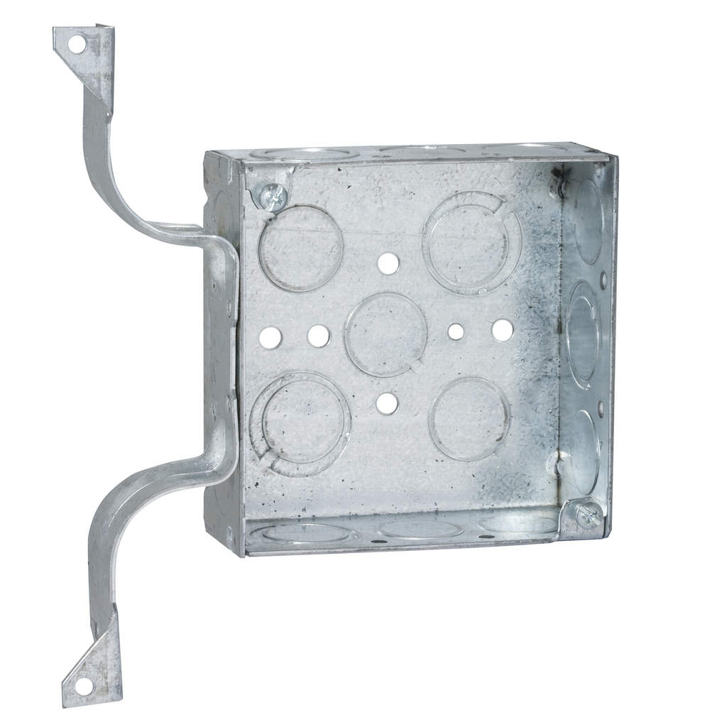 RACO 208 4 x 4 x 1-1/2 Inch 21 In Pre-Galvanized Steel W Bracket Flush/Ceiling/Wall Mount Welded Square Box