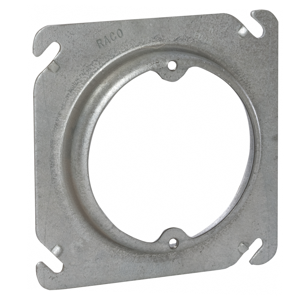 Raco 756 4 Inch 5/8 Inch Raised 5 In Steel Square Box Cover with Open Ear
