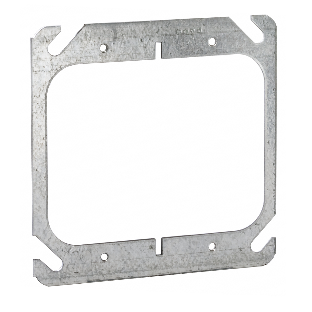 Raco 791 Steel 2-Device 4 Inch Square Outlet Box Flat Mud Ring