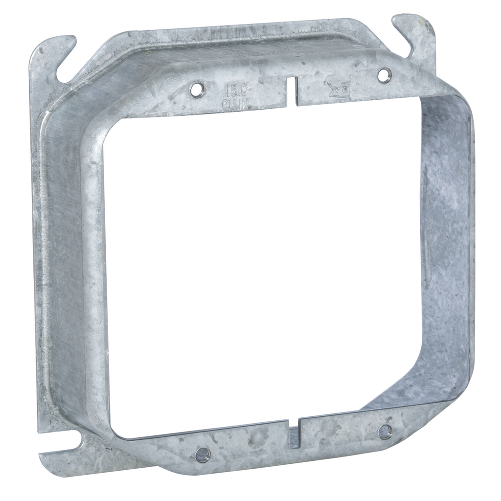"""Raco 781 1-1/4"""" Raised 14"""" Steel 2-Device Square Outlet Box Mud Ring"""