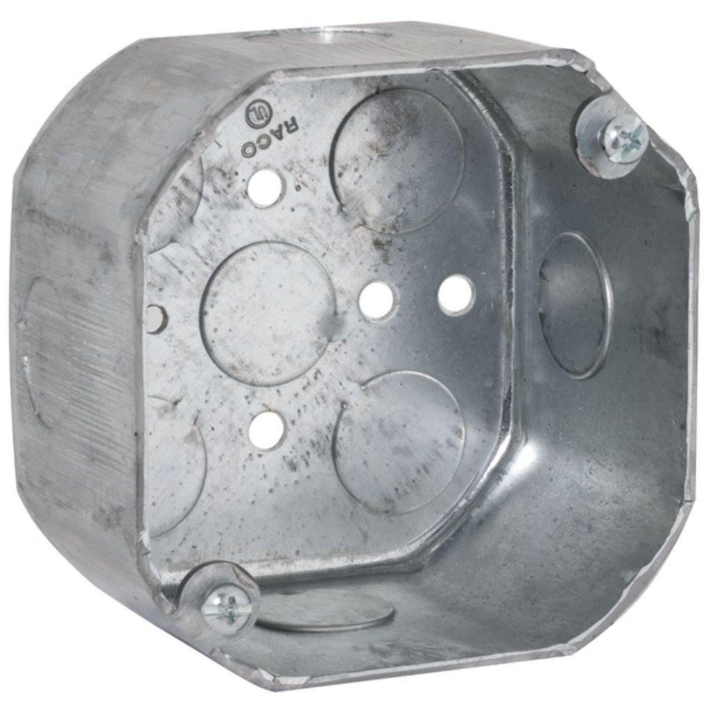 """Raco 165 4 x 2-1/8"""" 21.5"""" Steel Octagon Outlet Box"""