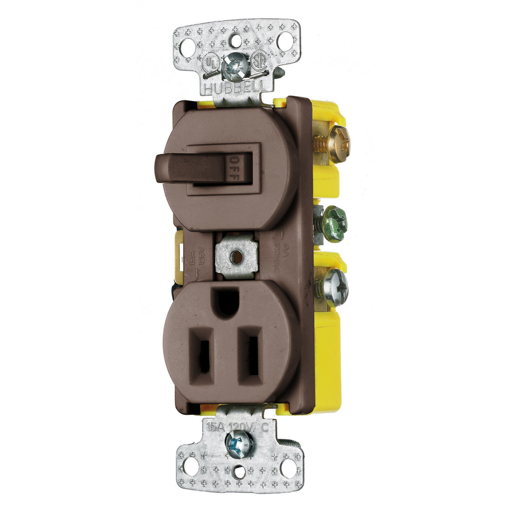 Hubbell Wiring Devices RC108 15 Amp 120/125 Volt 1-Pole Switch 2-Pole 3-Wire Receptacle Brown Combination Switch