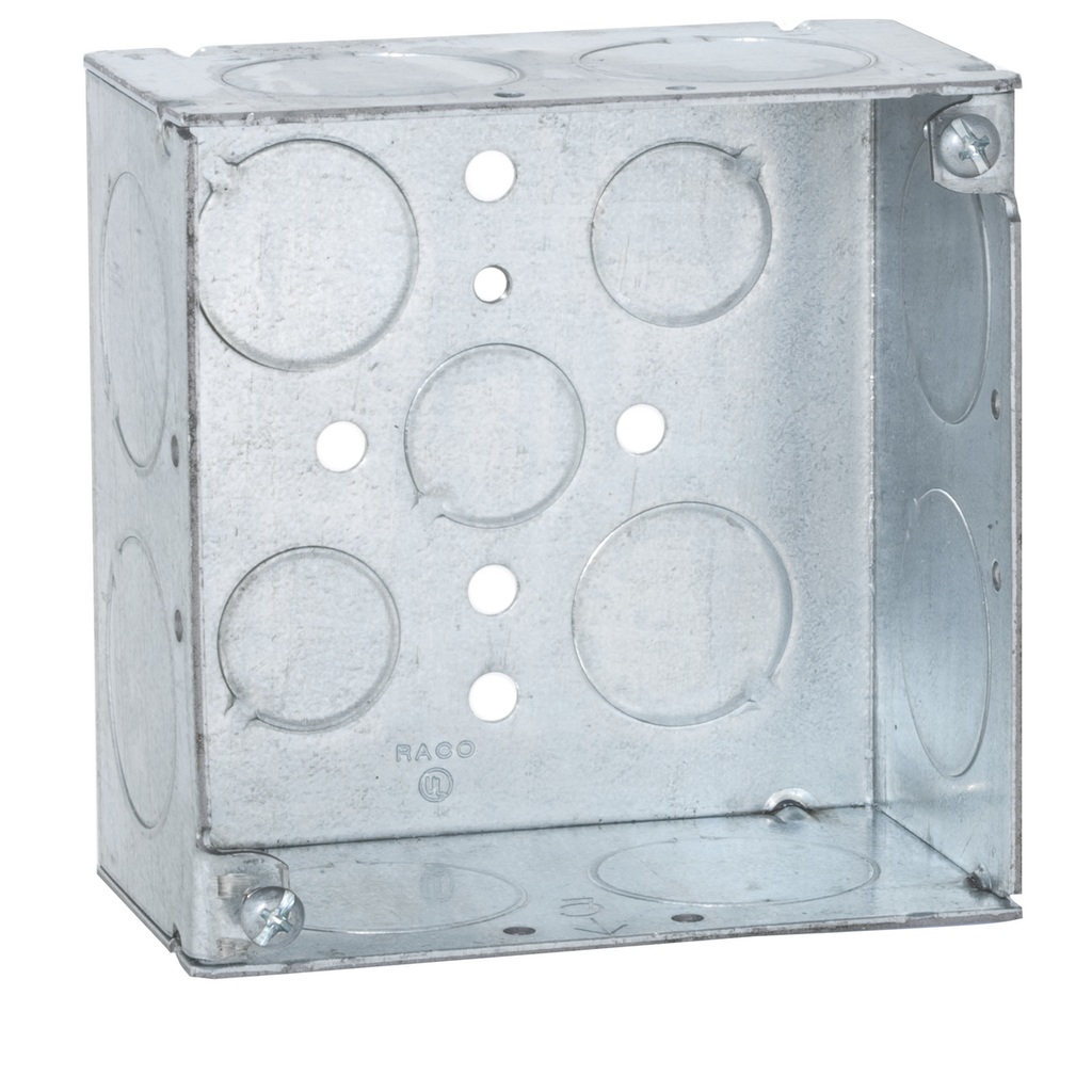 Raco 233 4 x 4 x 2-1/8 Inch 30.3 In Steel Welded Square Outlet Box