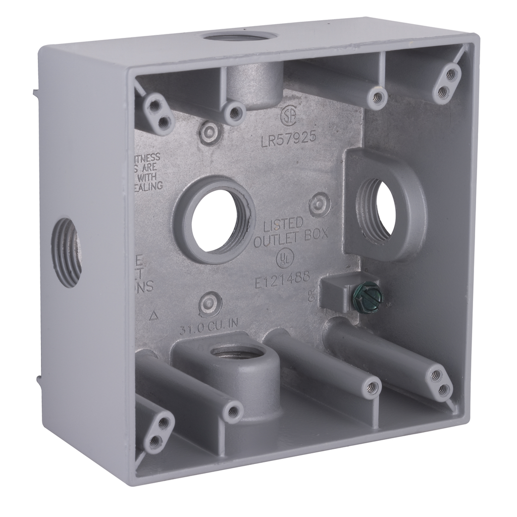 Bell 5334-0 2 Inch 30.5 In Gray Die-Cast Aluminum 2-Gang Weatherproof Outlet Box