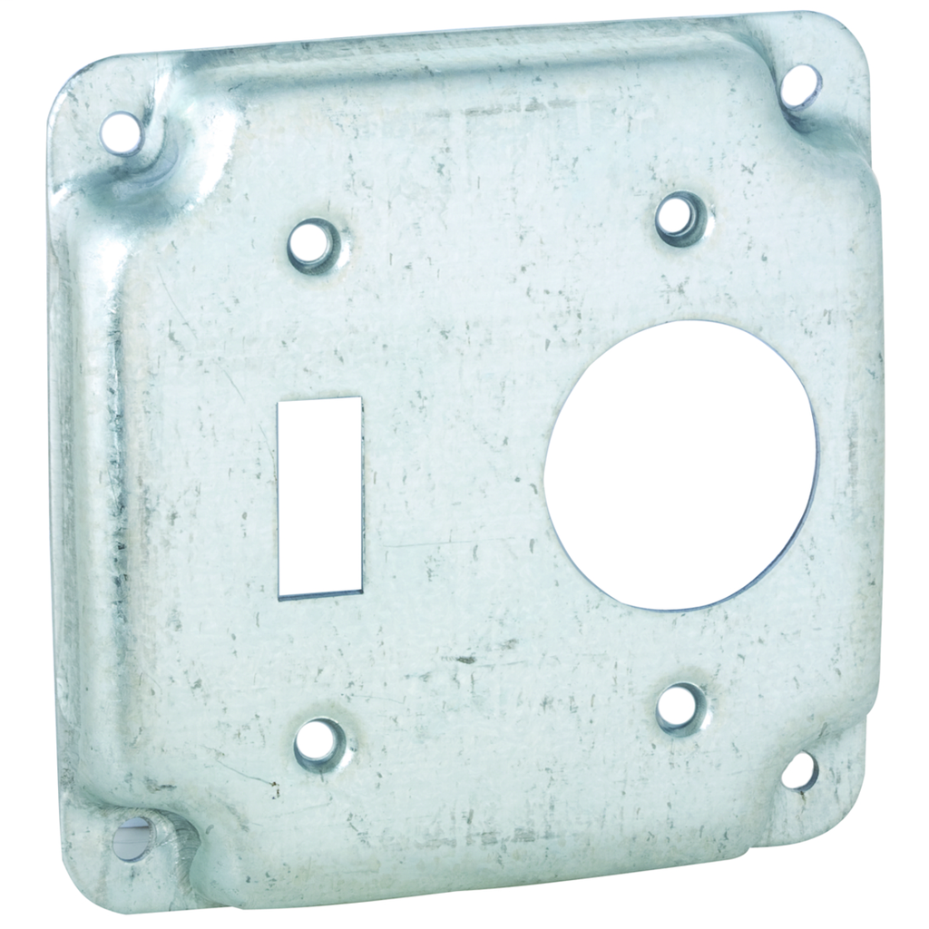 RACO 805C 4 Inch 1/2 Inch Raised 6.5 In Pre-Galvanized Steel Toggle Switch Crushed Corner Square Box Exposed Work Cover