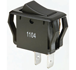 "BUC 774038 BLK SPST ROCKER SWITCH .55 X 1.12"" PANEL CUTOUT"