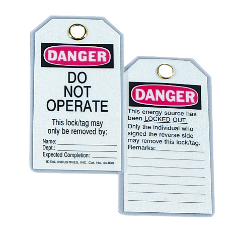 "IDEAL Lockout Tag, Vinyl, ""Do Not Operate"", 5/Card"