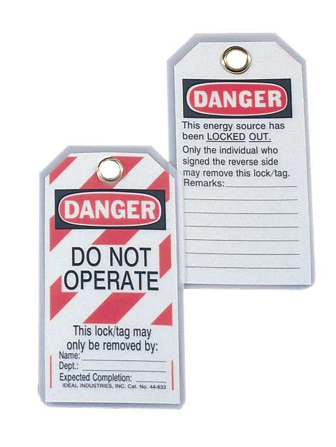 "IDEAL Lockout Tag, Vinyl, ""Do Not Operate"" Striped, 5/Card"