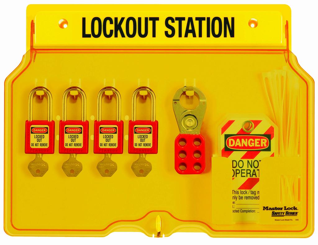 Four-Lock Station, w/4 Locks, 12 Tags, 2 Hasps