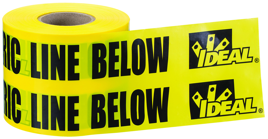 "IDEAL 42-152 Tape ""Caution Electric Line Buried Below"", 6"" x 1000', Yellow, Non-Detectable Underground Tape"