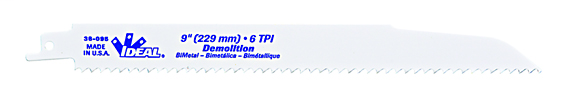 Ideal Industries 36-096 7/8 x 0.062 x 9 Inch 10 TPI Bi-Metal Universal-Shank Taper Back Reciprocating Saw Blade