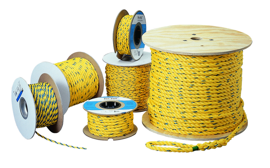 Ideal Industries 31-840 1/4 Inch x 600 Foot Yellow/Blue Tracer Low Friction Polypropylene Cable Pulling Rope