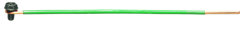 """Mayer-Solid Wire Grounding Tail, 12 AWG Solid, 6.5"""" Tail w/Loop, Ground Screw & Stripped End, Bag of 50-1"""