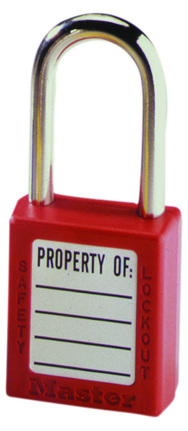 "Mayer-Padlock, 1-1/2"" Shackle, Red, w/Key-1"