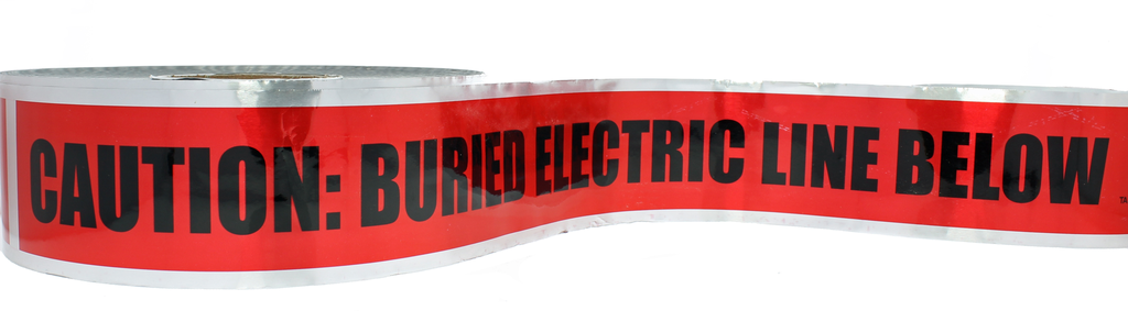 """Mayer-Detectable Underground """"Caution Buried Electric Line"""", Red, 3"""" x 1,000'-1"""