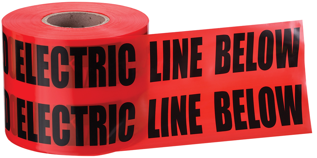 """Mayer-Non-Detect Underground """"Caution Buried Electric Line"""", Red, 6"""" x 1,000'-1"""