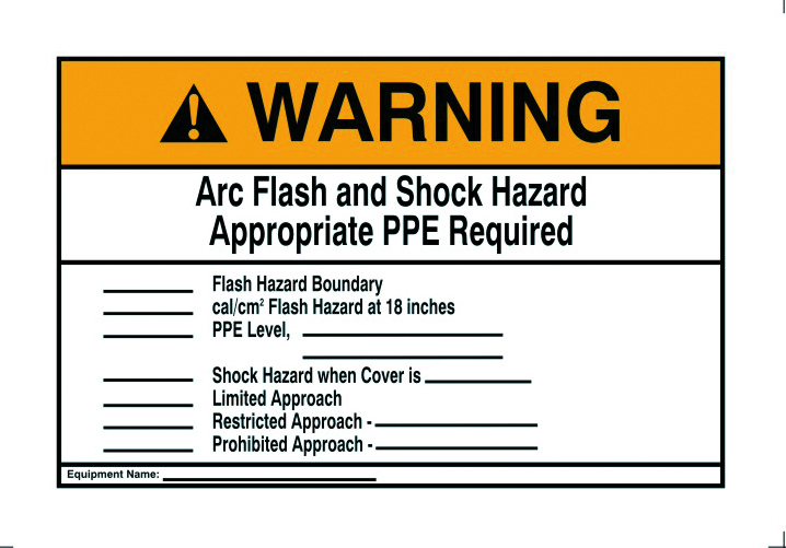 Ideal Industries 44-896 10 x 7 Inch Self Sticking Polyester Warning NEC Arc Flash Legend Flash Protection Label and Sign