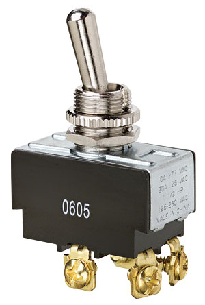 Ideal 774005 10/20 Amp 125/277 VAC DPST On-Off Nickel Plated Brass Heavy Duty Toggle Switch
