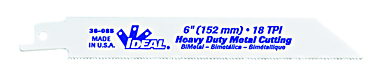 Ideal Industries 36-086 3/4 x 0.05 x 8 Inch 10 or 14 TPI Bi-Metal Universal-Shank Straight Back Reciprocating Saw Blade