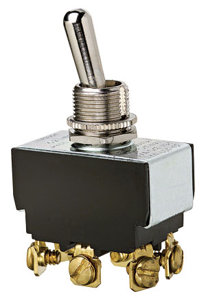 Ideal Industries 774000 10/20 Amp 125/277 VAC DPDT On-Off-On Nickel Plated Brass Heavy Duty Toggle Switch