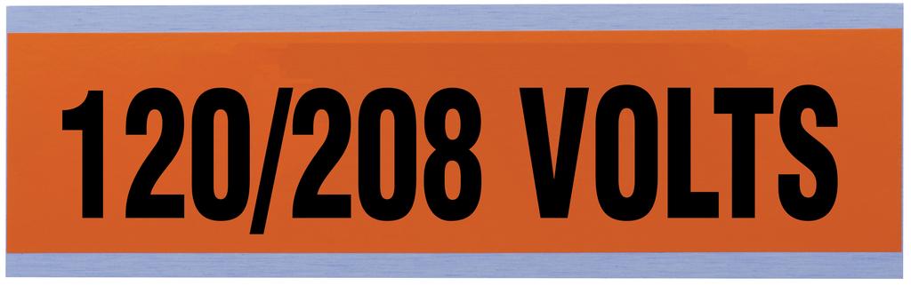 Ideal Industries 44-295 Black/Bright Orange Vinyl Impregnated Cloth Adhesive 120/208 Volt Legend Voltage and Conduit Marker