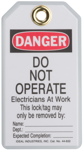 "Lockout Tag, Vinyl, ""Do Not Operate Elec. At Work"", 5/Card"