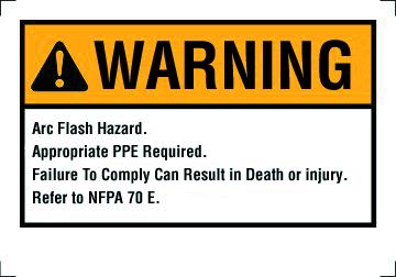 """Mayer-Warning Label, NEC Arc Flash, 3-1/2"""" x 5"""", Adhesive-1"""