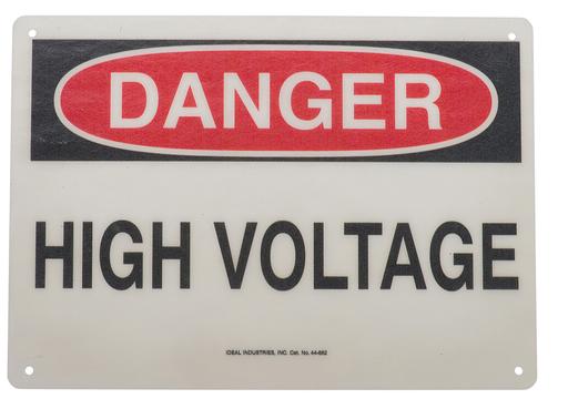 """Safety Sign, """"Danger High Voltage"""", Fiberglass"""