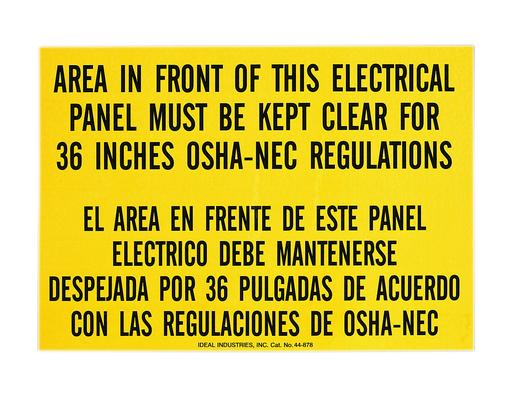 Safety Sign, Bilingual, OSHA Regulation, Adhesive