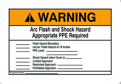"""Warning Label, NEC Arc Flash, 7"""" x 10"""", Adhesive"""