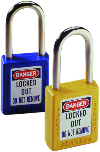 "Padlock, 1-1/2"" Shackle, Yellow, w/Key"