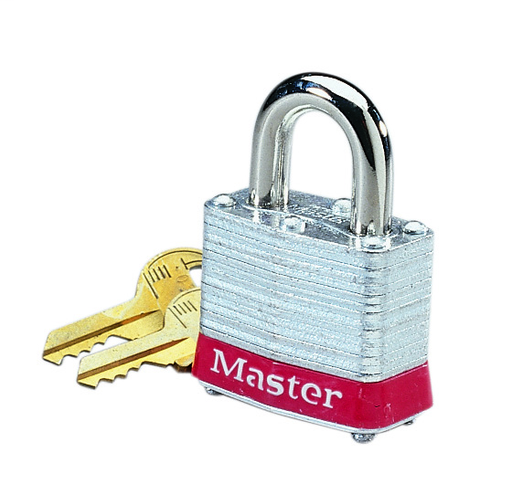 "Padlock, Steel, 3/4"" Shackle, Red Bumper"