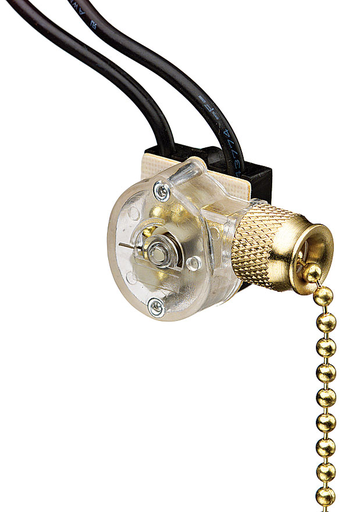 Mayer-Pull Chain Switch, SPST, O-F, Wire Leads, Brass-1