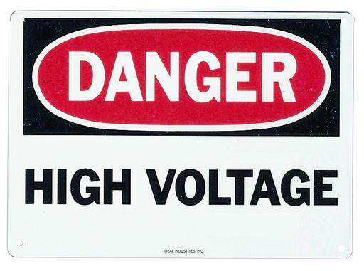 "Safety Sign, ""Danger High Voltage"", Adhesive"