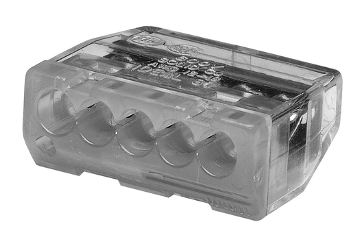 In-Sure® Push-In Wire Connector, Model 87 5-Port Gray, Jar of 150