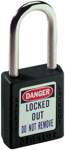 "Mayer-Padlock, 1-1/2"" Shackle, Black, w/Key-1"