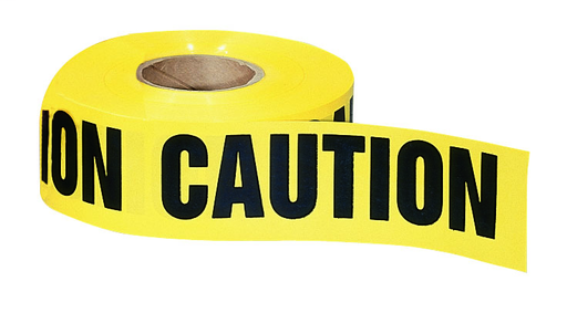 "Mayer-Barricade Tape, ""Caution"", Yellow, 3"" x 1,000'-1"