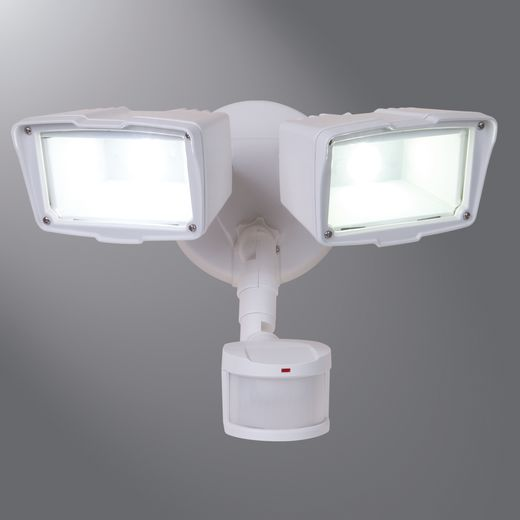 LUM MST203T18W 180 DEGREE MOTION TWIN LED FLOODLIGHT, WHITE