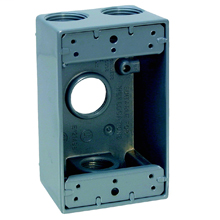 2 G WP OUTLET BOX 2 5/8 DP 3/4 7 HOLE GR