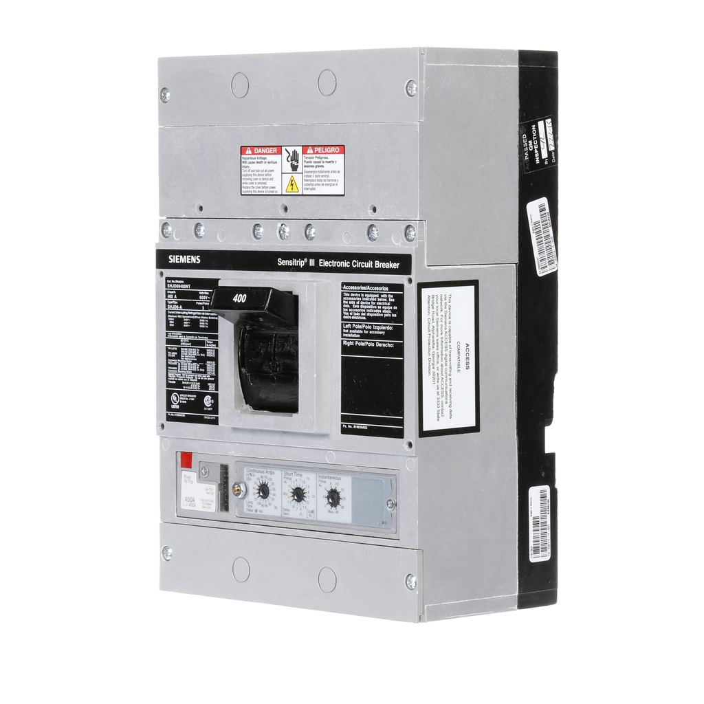 Siemens Industry SHJD69400NT 3-Pole 600 VAC 400 Amp 35 kA Thermal Magnetic and Electronic Molded Case Circuit Breaker