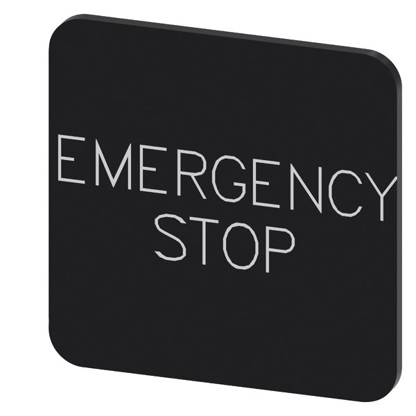 SIEM 3SU19000AF160DA0 INSCR. LABEL BLK 22X22MM, EMERGENCY STOP
