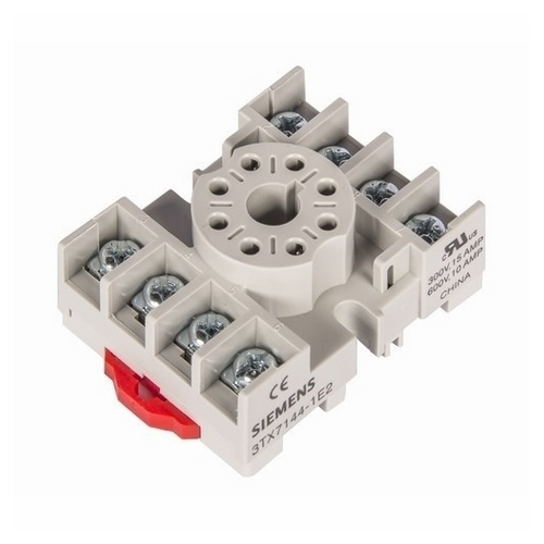 Siemens Industry 3TX7144-1E2 240 VAC 8-Pin Din Rail Mount Screw Terminal Plug-In Relay Socket