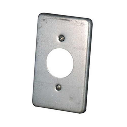 APPLETON 1-Gang Box Cover, Material: Steel, Finish: Zinc Electroplate, Size: 1-13/32 IN Hole Diameter, Number Of Outlet: (1) Round Flush Receptacle, Mounting: Box, For Use With Round Flush Receptacles