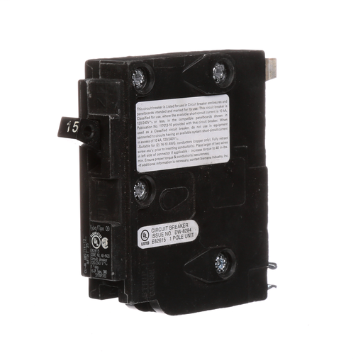 Siemens Low Voltage Residential Circuit Breakers. QD 3/4 IN Plug-In 1-Pole circuit breaker. Rated 120V (15A) AIR (10 kA). Special features HACR rated, UL listed and classified.