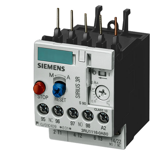 Overload Relay, IEC, SIRIUS Thermal, Trip Class 10 Adjustment Range 3.5 - 5 Amps Manual/Automatic Reset Frame Size S00 Screw Terminals For Direct Mount to Contactor UL File E44653 in Vol.5 Sec.27