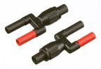 Dual Banana Plug 4 mm male to female BNC Adapter. The set consists of two adapters.