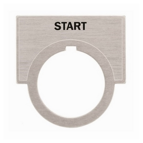 Siemens Industry 52NL03 2 x 1-7/16 Inch Start Brushed Aluminum Large Push Button Legend Plate