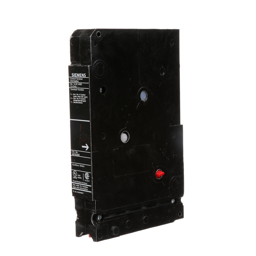 SIEMENS LOW VOLTAGE SENTRON MOLDED CASE CIRCUIT BREAKER INTERNAL ACCESSORY. FORM C 480 VAC AUXILIARY SWITCH (1NO / 1NC). SUITS ED FRAME BREAKERS.