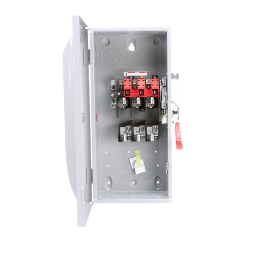 Siemens Low Voltage Circuit Protection Heavy Duty Safety Switch. 3-Pole 3-Fuse and solid neutral Fused in a type 1 enclosure (indoor). Rated 240VAC (100A).